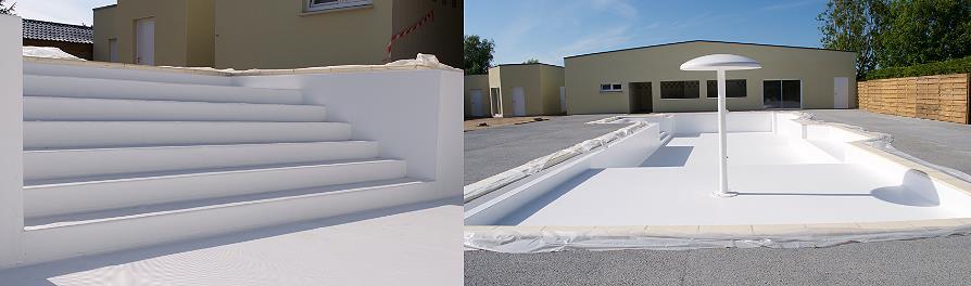 Soudure liner armé AlkorPlan sur escalier de piscine